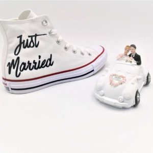 chaussures personnalisées Converse Just married Elegance double g customs chaussures customisées