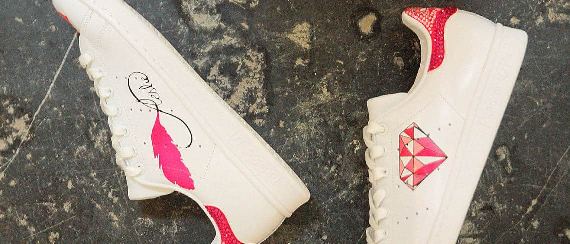 Chaussures customisées custom sneakers adidas stan smith diamond diamant double g customs
