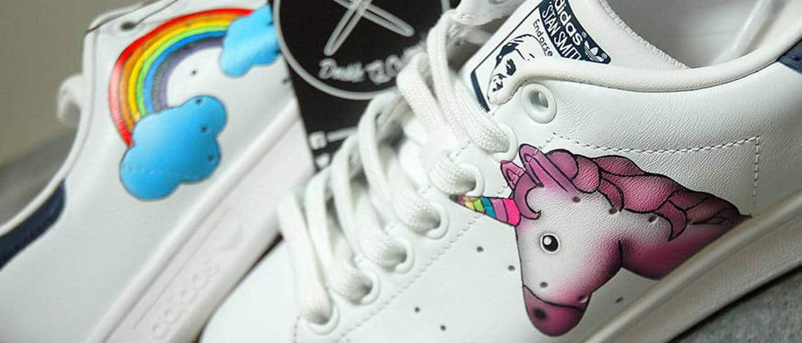 Chaussures customisées custom sneakers adidas stan smith licrone unicorn double g customs