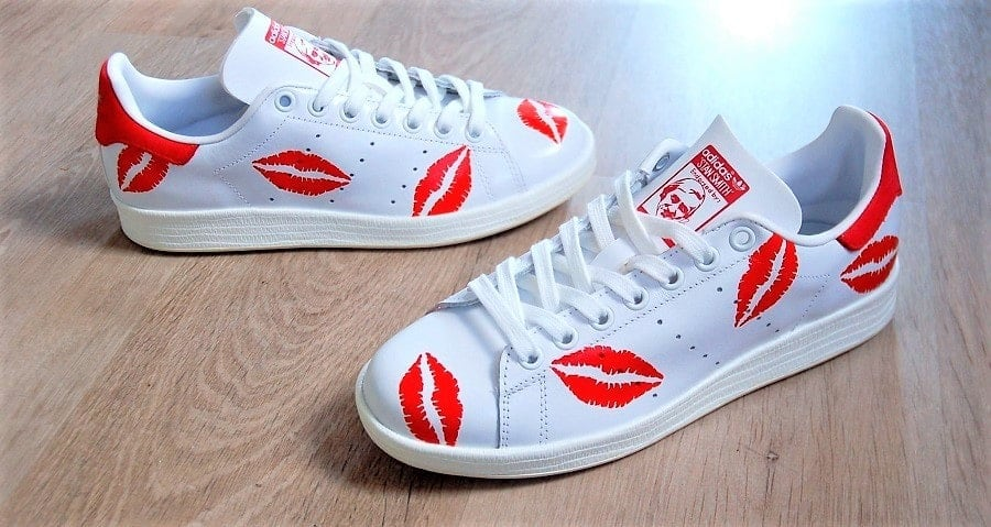 chaussures customisées Adidas Stan Smith Kiss double g customs shoes chaussures personnalisées