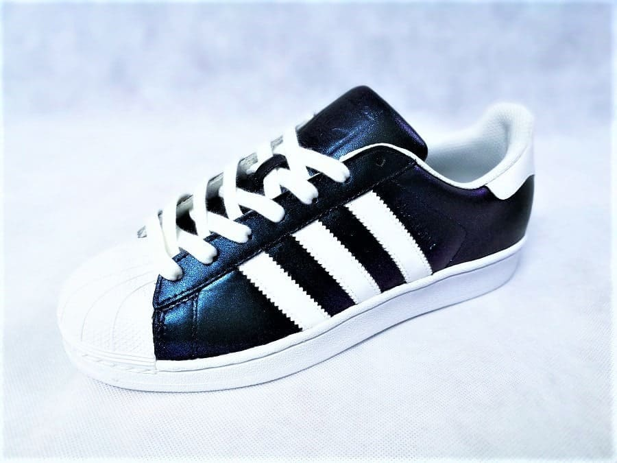 chaussures customisées Adidas Superstar Holographic Swarovski double g customs shoes chaussures personnalisées