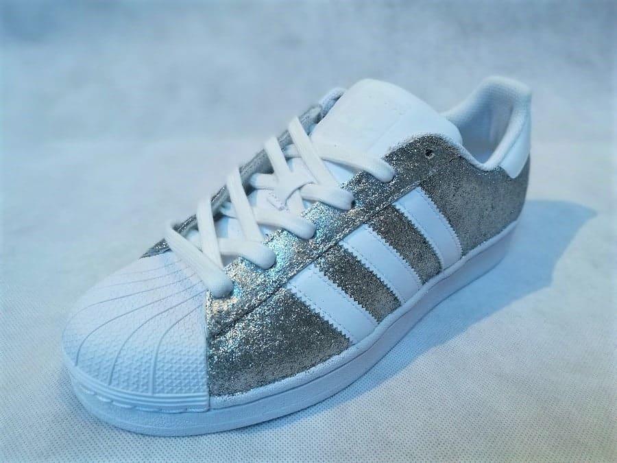 chaussures customisées Adidas Superstar Glitter Silver double g customs shoes chaussures personnalisées