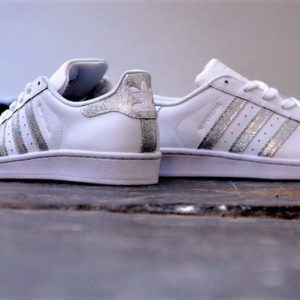 chaussures customisées Adidas Superstar Glitter Silver double g customs shoes chaussures personnalisées