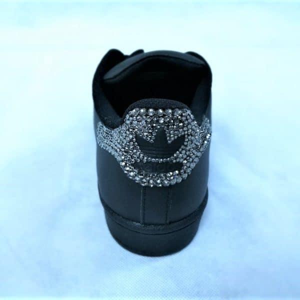 chaussures customisées Adidas Superstar Glitter Black Swarovski double g customs shoes chaussures personnalisées