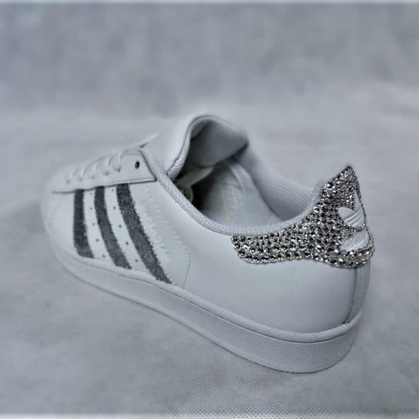 chaussures customisées Adidas Superstar Glitter Silver Swarovski double g customs shoes chaussures personnalisées