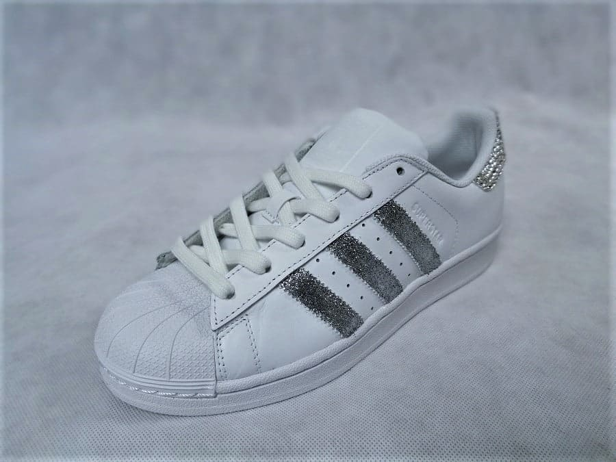 chaussures customisées Adidas Superstar Glitter Silver Swarovski double g customs shoes chaussures personnalisées