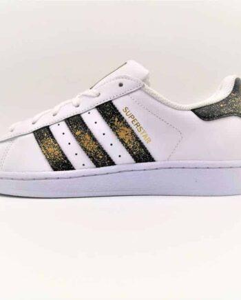 Chaussures customisées Adidas Superstar 24K par Double G customs, Artiste belge, créateur de chaussures customisées sur demande.