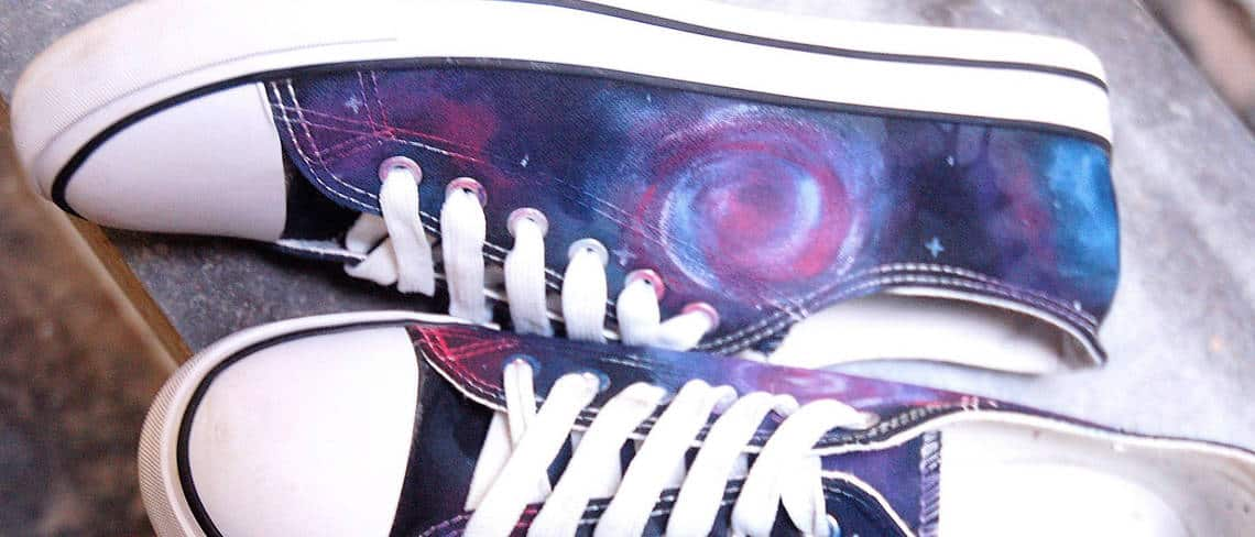 Chaussures customisées custom sneakers Converse Chuck taylor galaxy double g customs