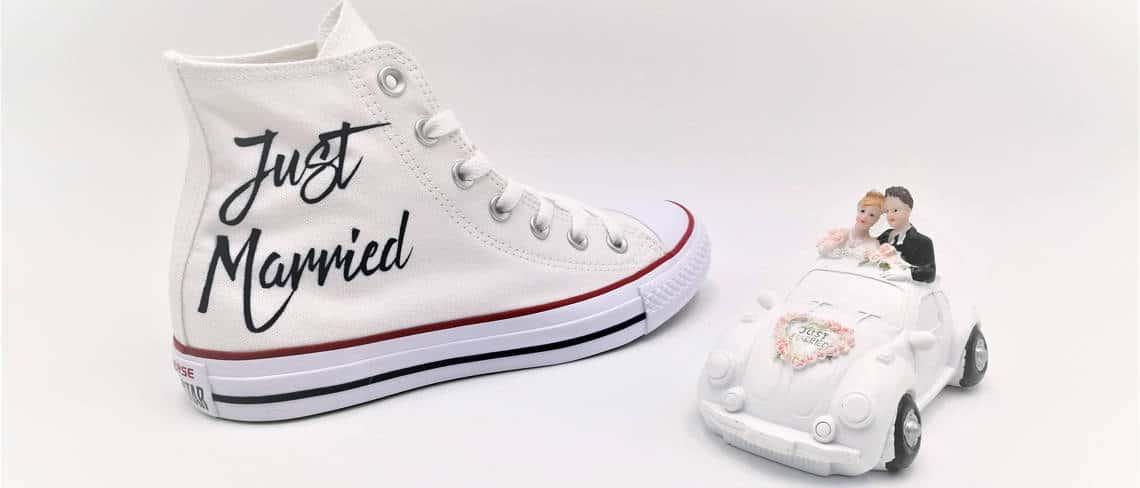 chaussures personnalisées Converse Just married Fresh double g customs chaussures customisées