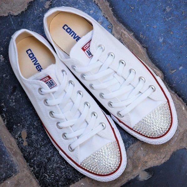 chaussures customisées Converse Chuck taylor Swarovski double g customs shoes chaussures personnalisées