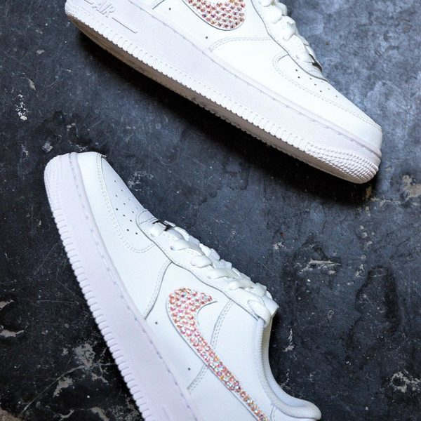 chaussures customisées Nike Air Force 1 One Swarovski double g customs shoes chaussures personnalisées