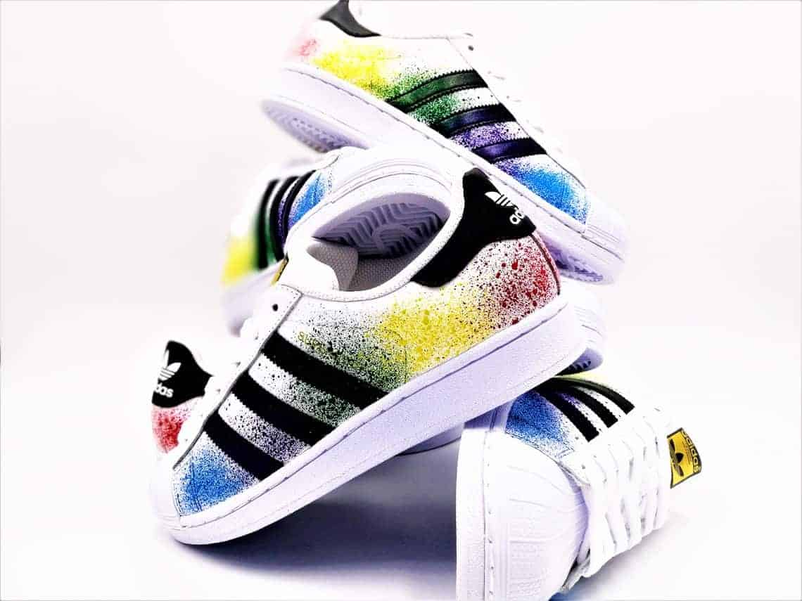 c4b859e1db8 These custom Adidas Color Splash shoes were performed by Double G Customs  from a pair of
