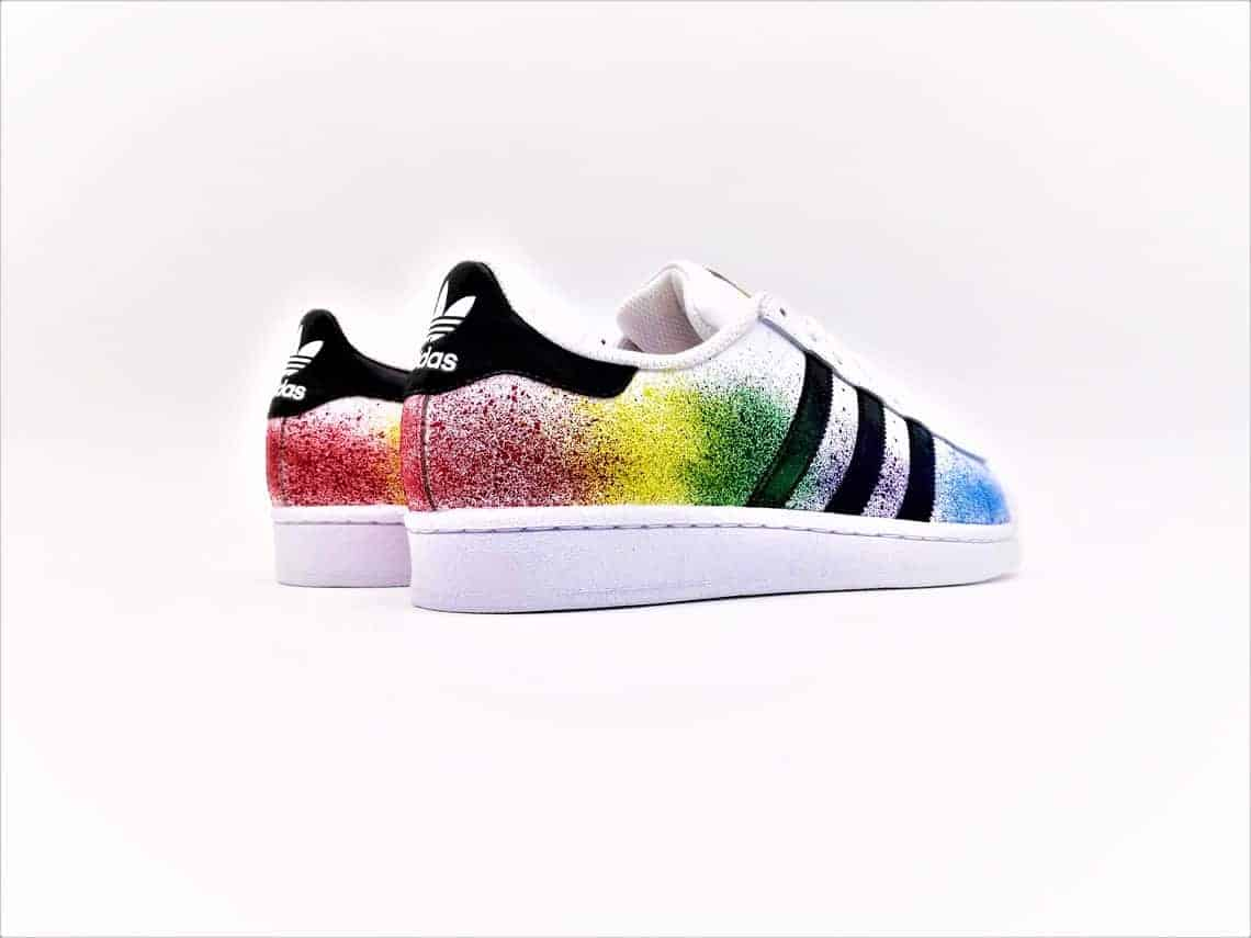 f4e291326b These custom adidas color splash shoes were made by double G customs from a  pair of