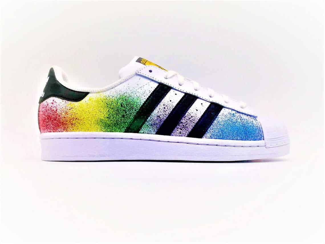 sports shoes aa30f b09b4 These custom adidas color splash shoes were made by double G customs from a  pair of