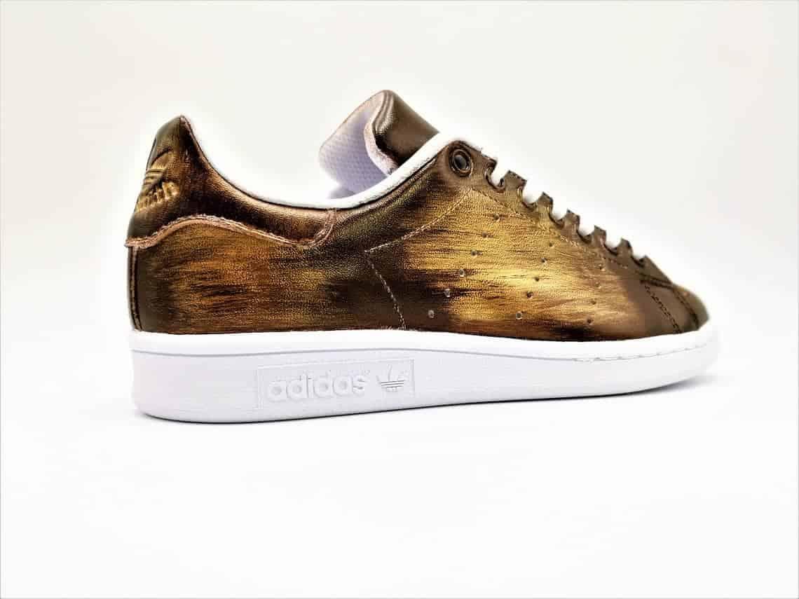 Adidas Stan Smith Patine Brun - Or réalisée par Double G Customs, artiste créateur de