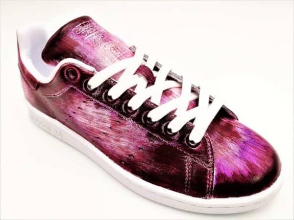 Chaussures personnalisables Adidas Stan Smith Patina Mauve par Double G Customs