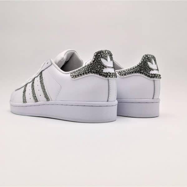 chaussures customisées Adidas Superstar Glitter Black Swarovski white edition double g customs shoes chaussures personnalisées