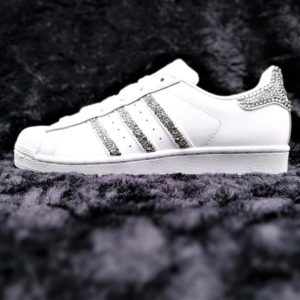 chaussures customisées Adidas Superstar Glitter Black Swarovski white edition double g customs shoes chaussures personnalisées
