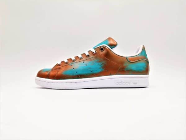 Chaussures personnalisables Adidas Stan Smith Patina Cuivre – Turquoise par Double G Customs