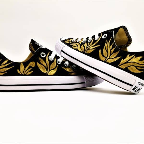 Chaussures personnalsiées par double g customs, converse Venezia. Chaussures customisées couleur or