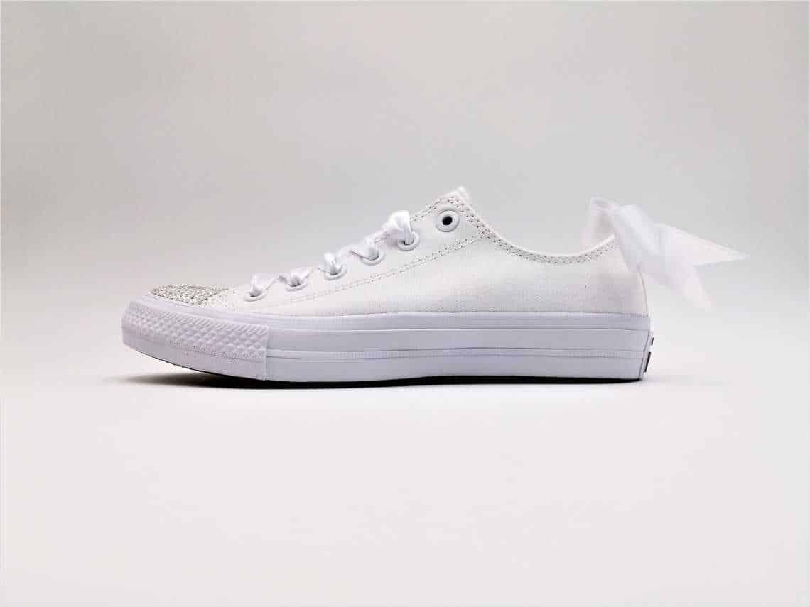 Custom Converse Wedding shoes with white satin ribbon