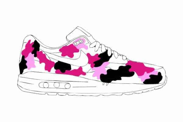 Nike air max 1 preview pink camo par double g customs, chaussures customisées sur mesure par Double G Customs, atelier de customisation de chaussures.
