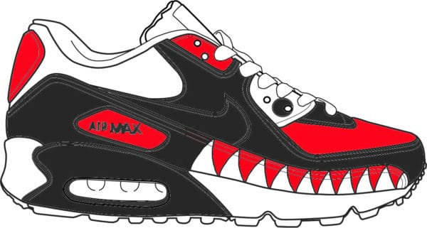 Nike air max 90 requin preview par Double G Customs, artiste customiser sneakers.