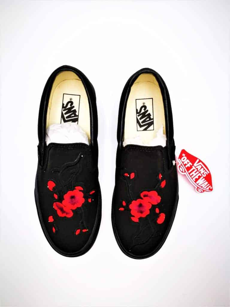 Customizable Shoes Vans Custom Slip On Japans Spring Flower Created By Double G Customs