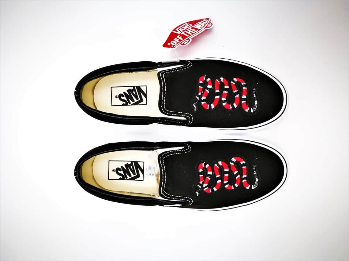 28a574cb638743 Vans custom slip-on snake-double G customs-custom shoes