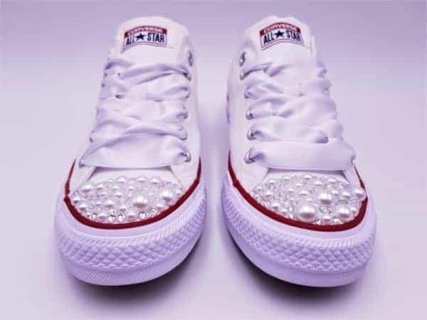 Customs Converse Personnalisées G Chaussures Hdqrts Pearl Double Mariage 5RL4Aj3