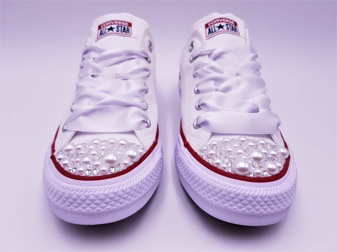 6f59e10cbaaa Converse Pearl wedding made by double G customs with Swarovski rhinestones  and pearls. Converse personalized