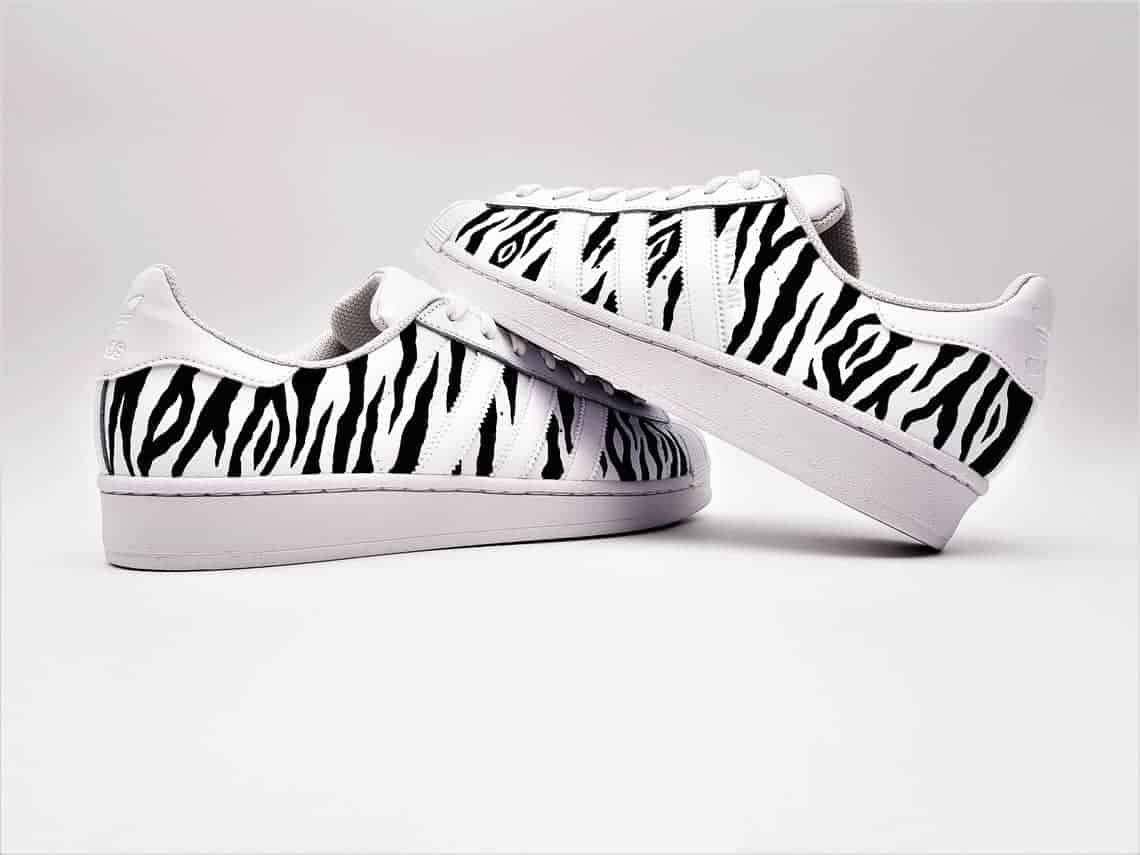 c648543546e1 Adidas Superstar custom by double G customs. The adidas Superstar Zebra are  made with stripes