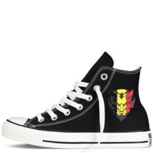 Custom sneakers converse belgium supporter 2018 réalisées par Double G Customs. Chaussures personnalisées pour les supporters belges de football.