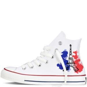 Custom sneakers converse France supporter 2018 réalisées par Double G Customs. Chaussures personnalisées pour les supporters français de football.