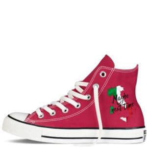 Custom sneakers converse Italy supporter 2022 ? réalisées par Double G Customs. Chaussures personnalisées pour les supporters italiens de football.