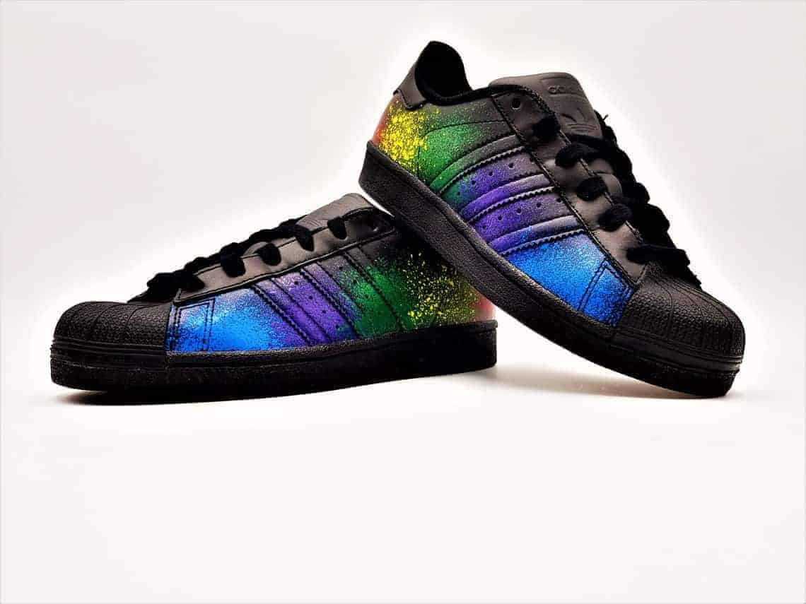 9801c2e03 Adidas color splash superstar Black Edition by double G customs, adidas  Superstar custom with splash