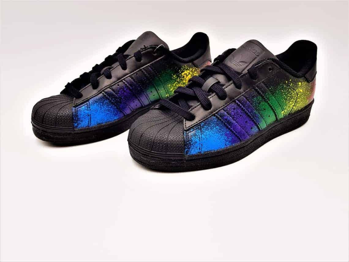 2dd3043611 Adidas color splash superstar Black Edition by double G customs