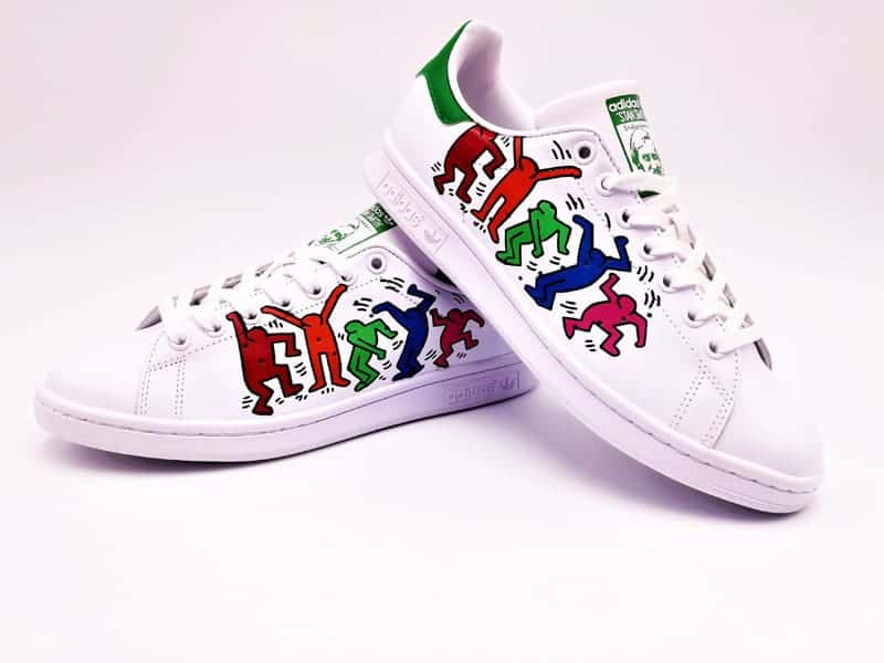 adidas stan smith keith haring custom par double g customs, chaussures customisées sur mesure.