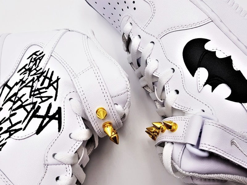 Nike Air Force 1 Batman, chaussures customisées par Double G Customs.