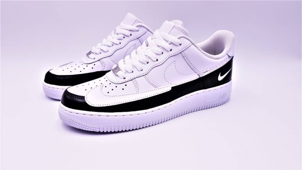 Double G LAB made the Nike Air Force 1 dual ton by moving the swoosh and splitting the pair into two monochrome parts. Double G LAB, creation of pair design footwear for double G customs.