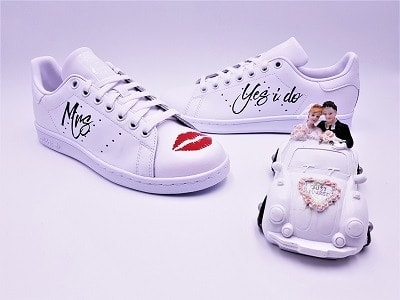 Adidas stan smith custom yes I do mariage, chaussures de mariage personnalisées par double g customs