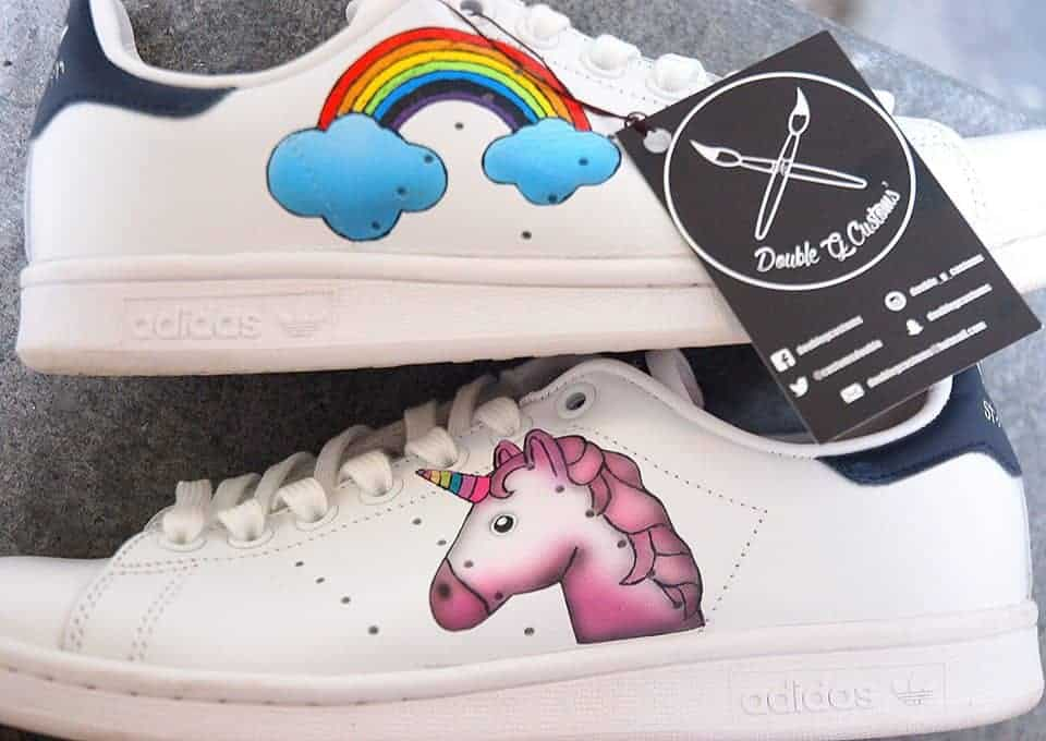chaussures personnalsiéesa adidas stan smith licorne par double g customs