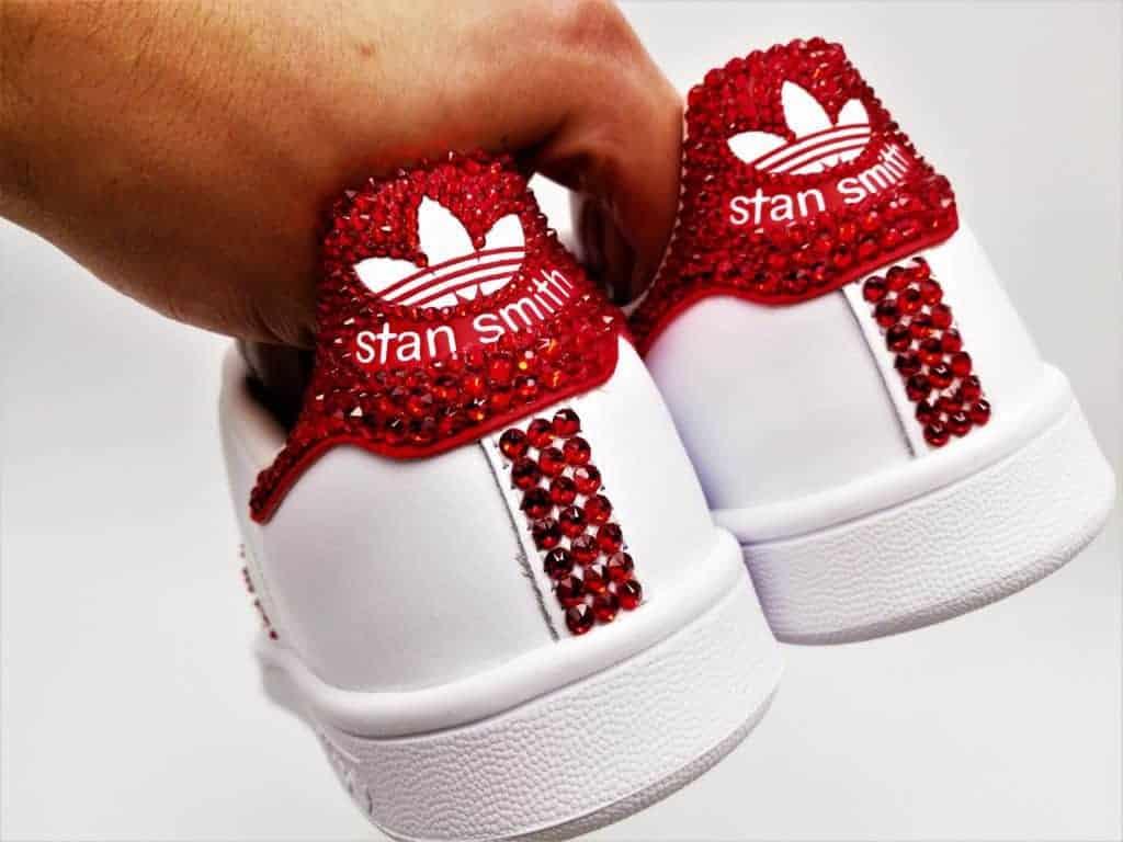 adidas stan smith swarovski, chaussures personnalisées par double g customs avec des strass Swarovski