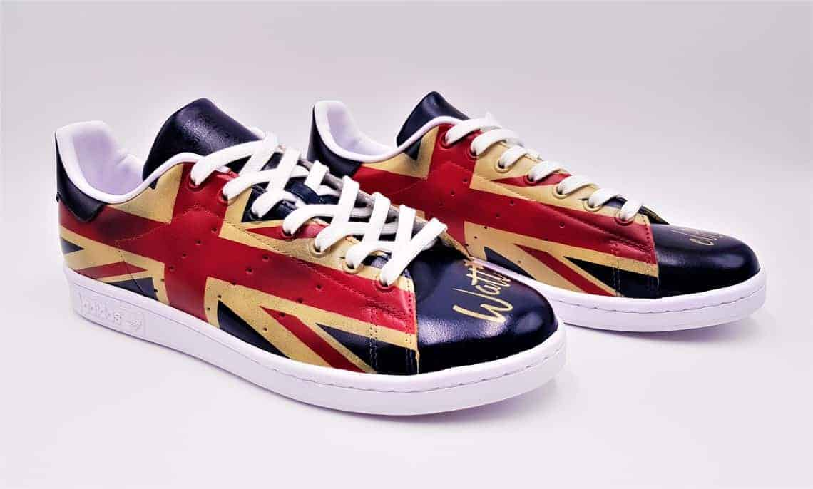 adidas Stan Smith union jack, chaussures customisées par double G Customs, artiste customizer de sneakers
