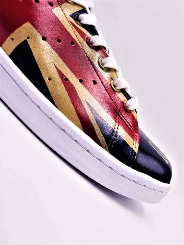 adidas Stan Smith union jack, chaussures customisées par double G Customs, artiste customizer de sneakers