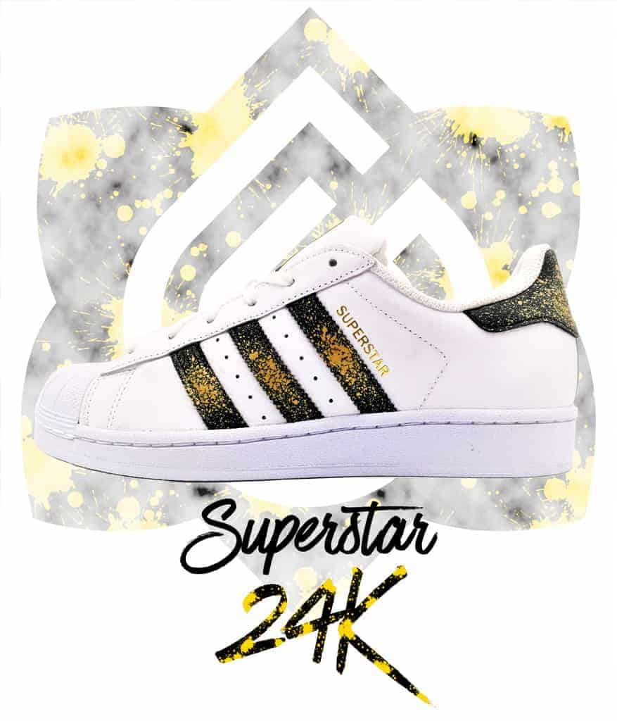 adidas superstar custom 24k par double g customs, chaussures customisées