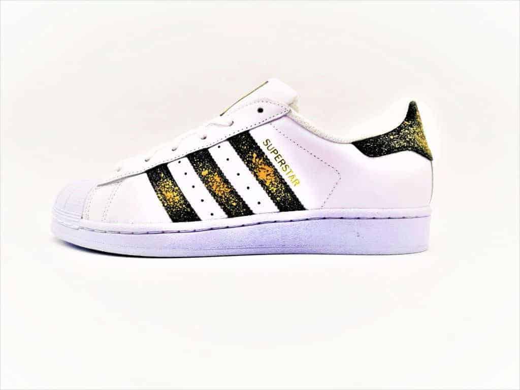 adidas superstar custom 24k par double g customs, chaussures customisées