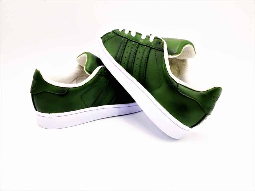 buy popular d03da 3efe2 Adidas Superstar olive – double G customs