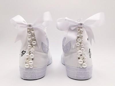 converse mariage, chaussures de mariage personnalisées par Double G Customs, créateur de chaussures de mariage personnalisées en Belgique