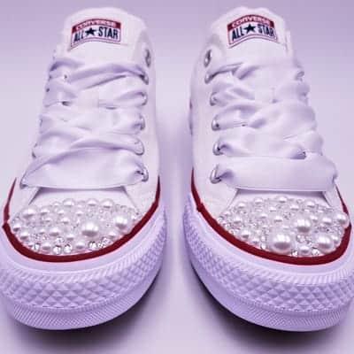 Converse mariage pearl par double g customs, chaussures de mariage personnalisées converse pearl.
